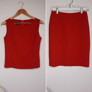 Lafyette 148 New York Red Skirt Set size 4